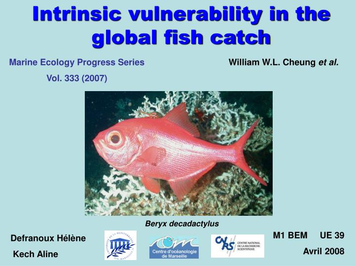 Intrinsic vulnerability in the global fish catch