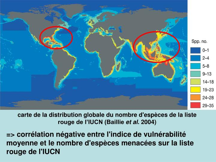 carte de la distribution globale du nombre d'espèces de la liste rouge de l'IUCN (Baillie