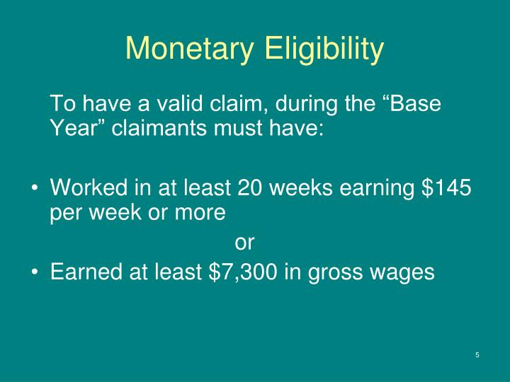 Monetary Eligibility
