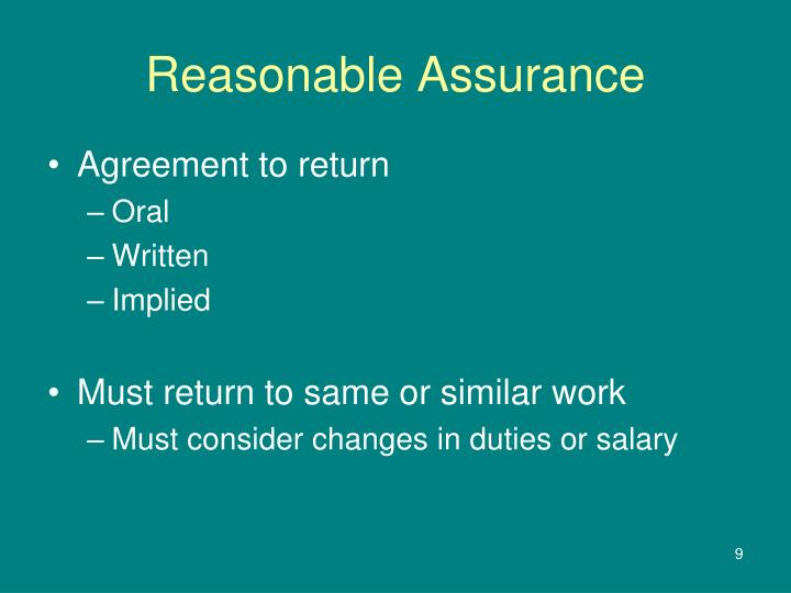 Reasonable Assurance