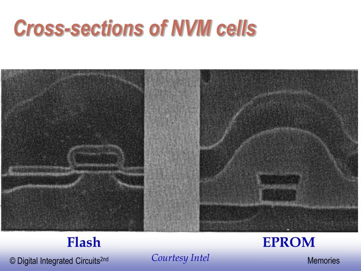 Cross-sections of NVM cells