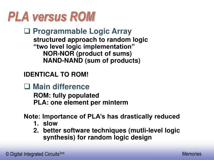 PLA versus ROM