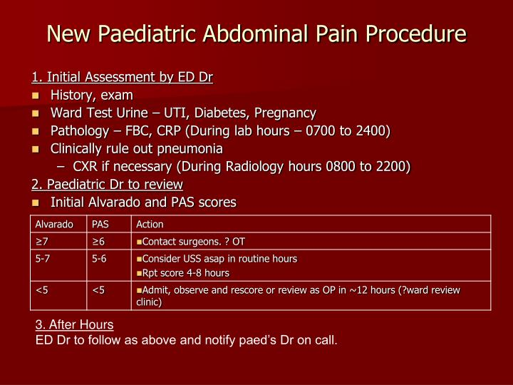 New Paediatric Abdominal Pain Procedure