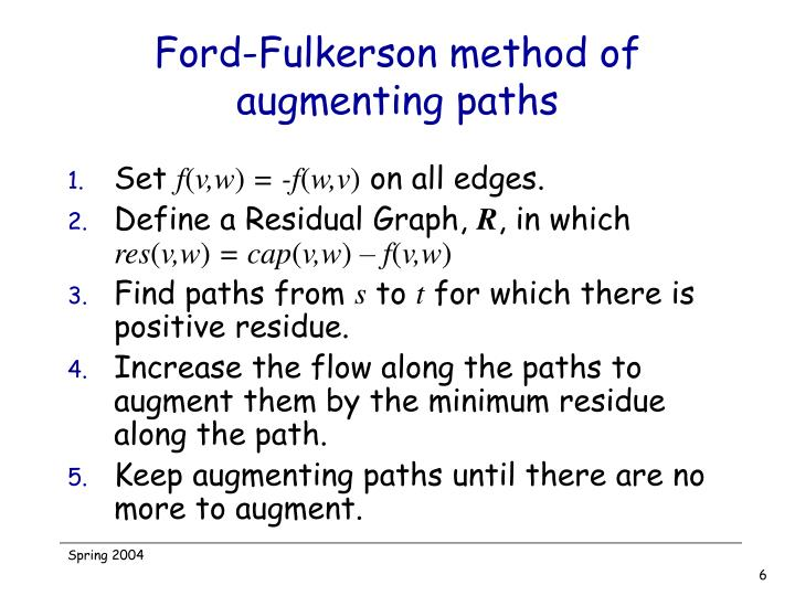 Ford-Fulkerson method of augmenting paths