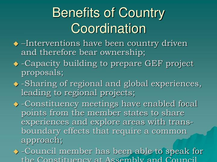 Benefits of Country Coordination