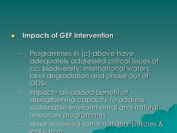 Impacts of GEF Intervention