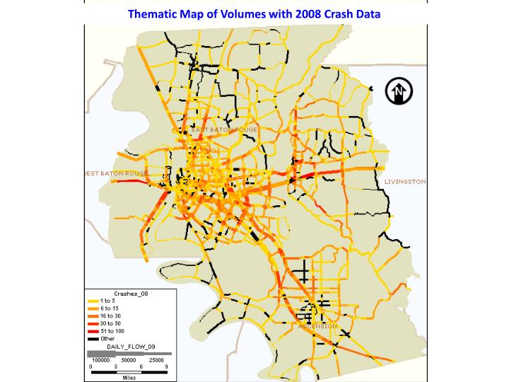 Thematic Map of Volumes with 2008 Crash Data