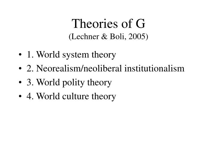 Theories of G