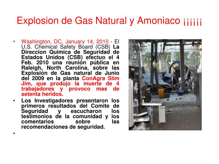 Explosion de Gas Natural y Amoniaco ¡¡¡¡¡¡