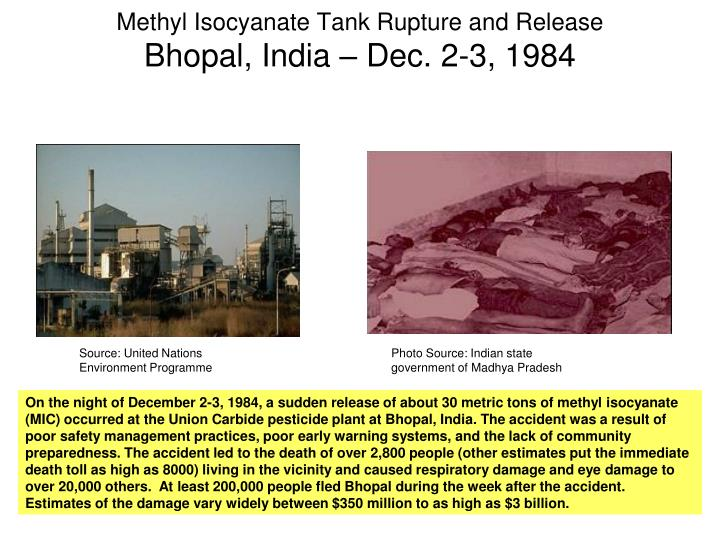 Methyl Isocyanate Tank Rupture and Release