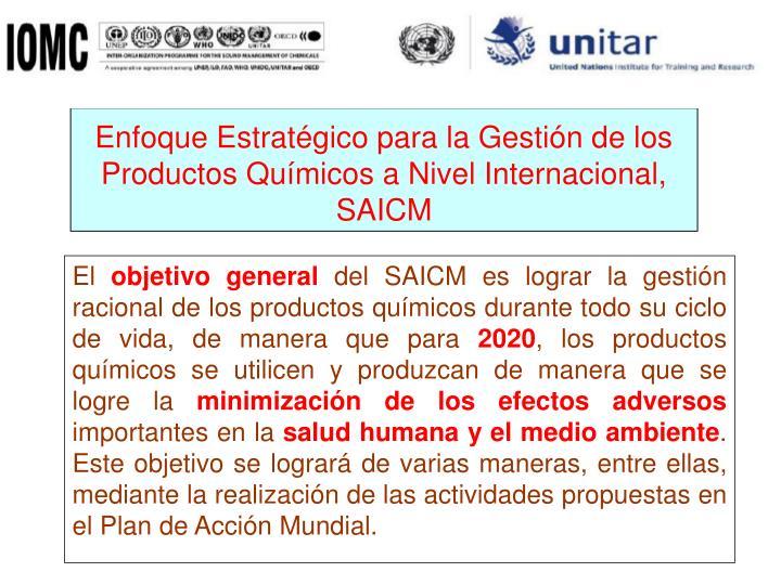 Enfoque Estratégico para la Gestión de los Productos Químicos a Nivel Internacional, SAICM