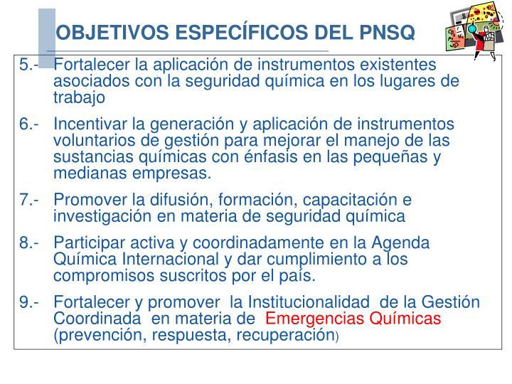 5.- Fortalecer la aplicación de instrumentos existentes asociados con la seguridad química en los lugares de trabajo