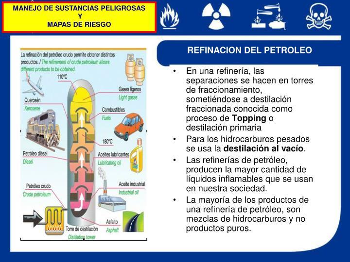 En una refinería, las separaciones se hacen en torres de fraccionamiento, sometiéndose a destilación fraccionada conocida como proceso de