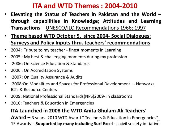 ITA and WTD Themes : 2004-2010