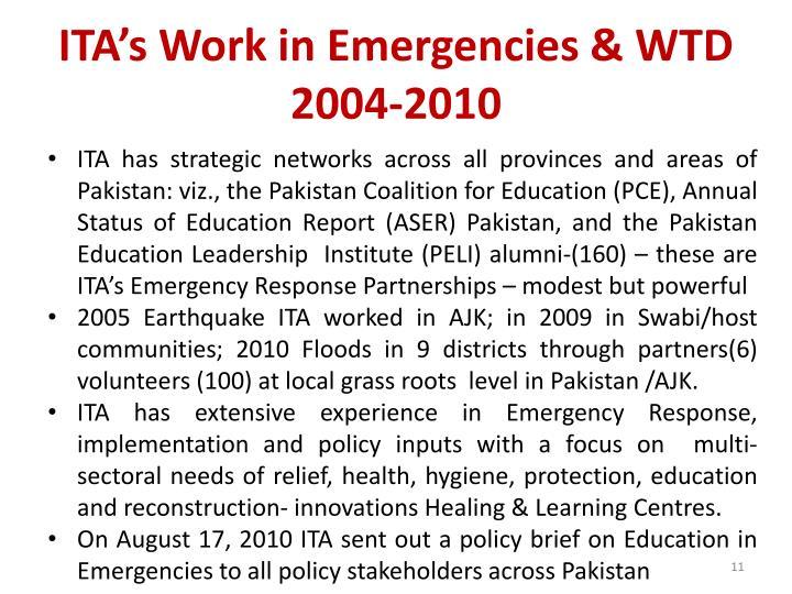 ITA's Work in Emergencies & WTD 2004-2010