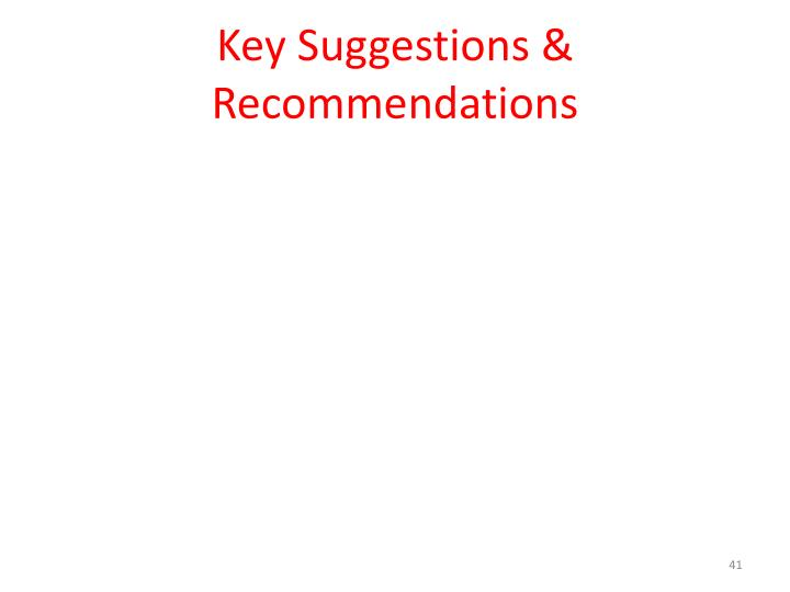 Key Suggestions & Recommendations