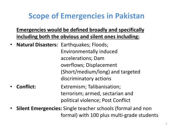 Scope of Emergencies in Pakistan