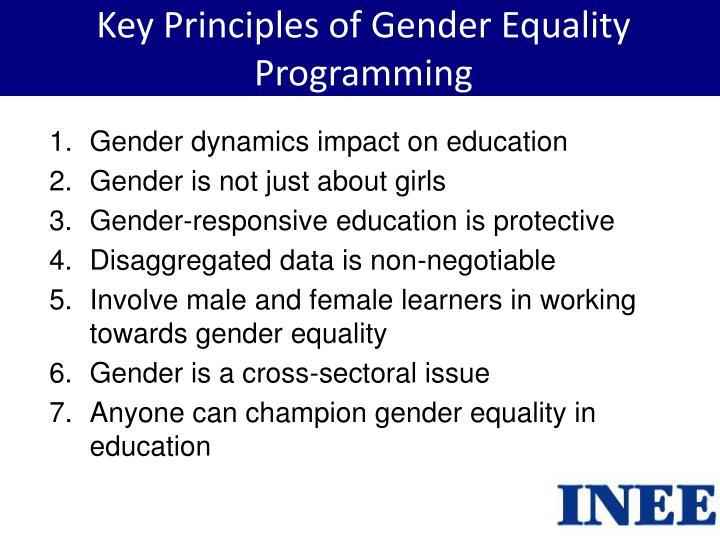 Key Principles of Gender Equality Programming