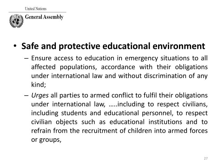 Safe and protective educational environment