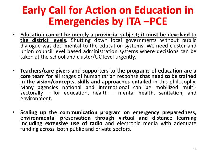 Early Call for Action on Education in Emergencies by ITA –PCE