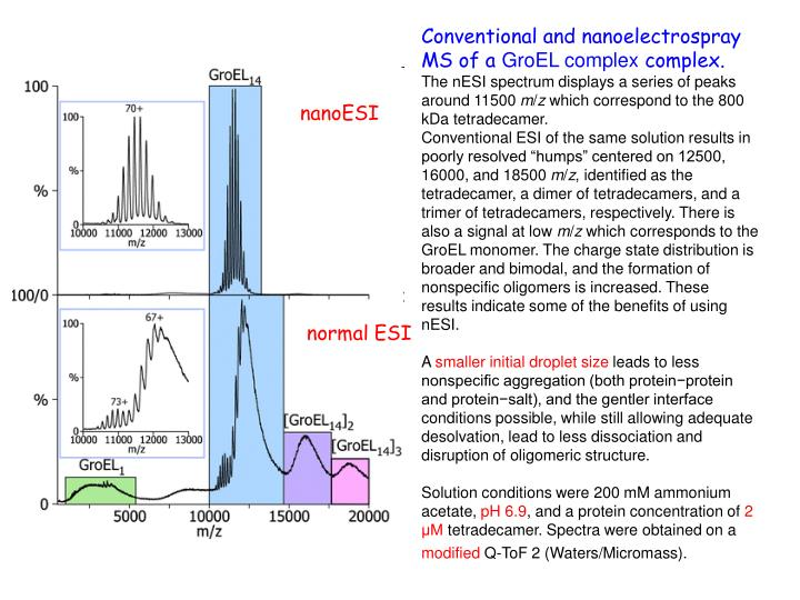Conventional and nanoelectrospray MS of a