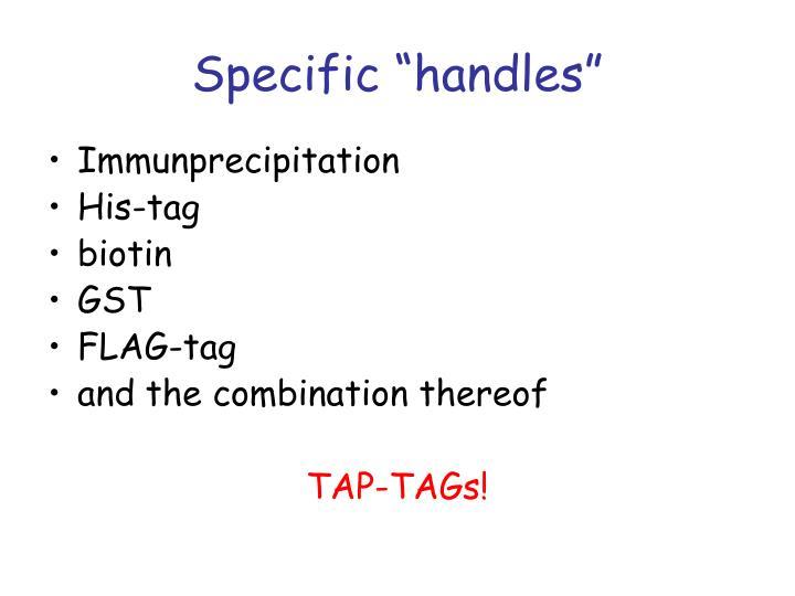 "Specific ""handles"""