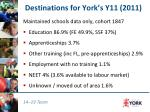 destinations for york s y11 2011