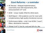 govt reforms a reminder