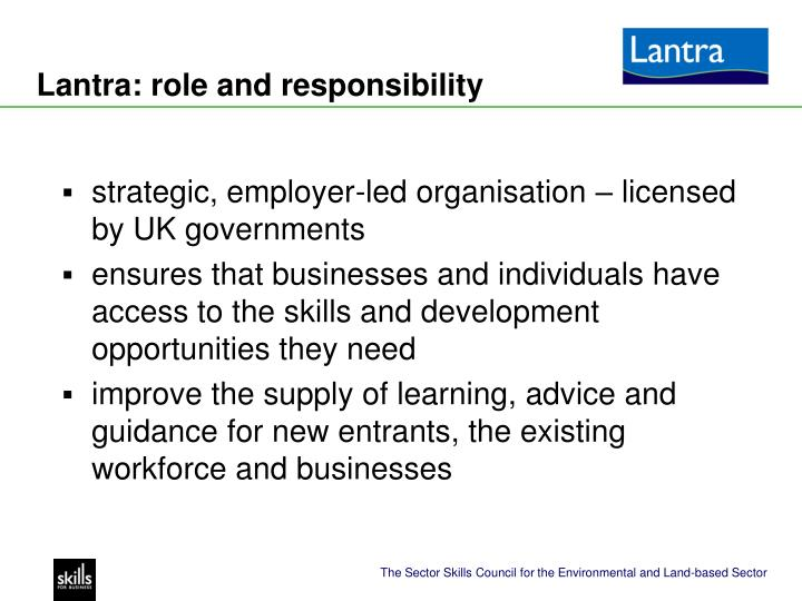 Lantra: role and responsibility