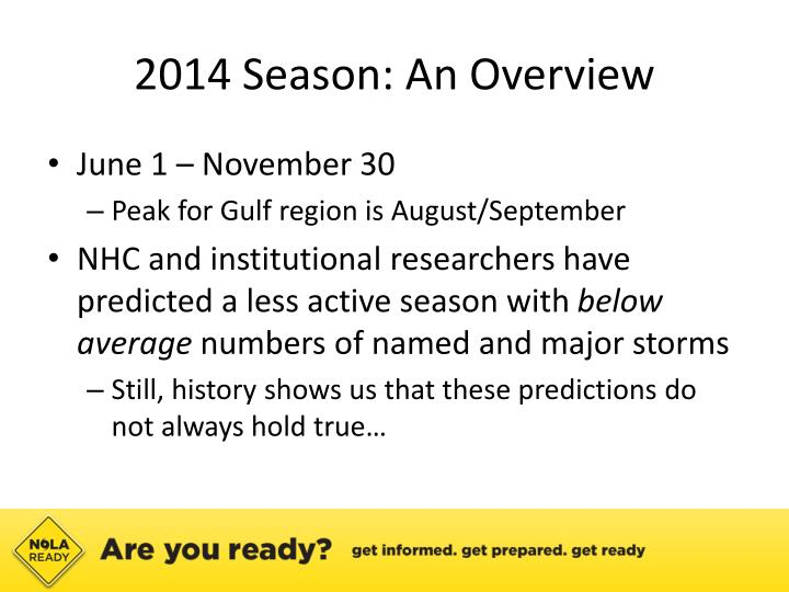 2014 Season: An Overview