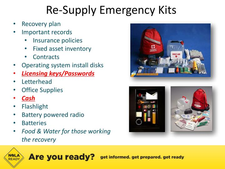 Re-Supply Emergency Kits