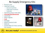 re supply emergency kits