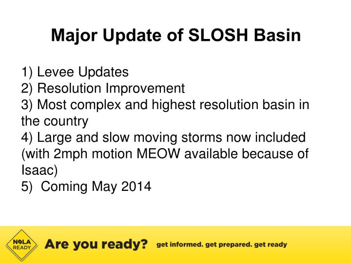 Major Update of SLOSH Basin