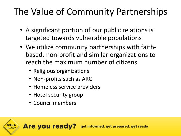The Value of Community Partnerships