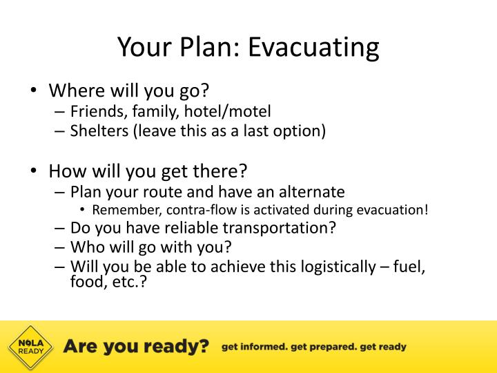 Your Plan: Evacuating