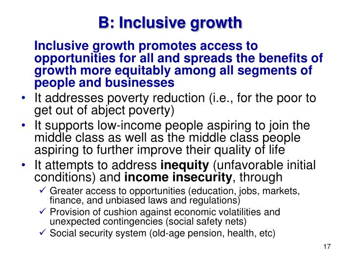 B: Inclusive growth