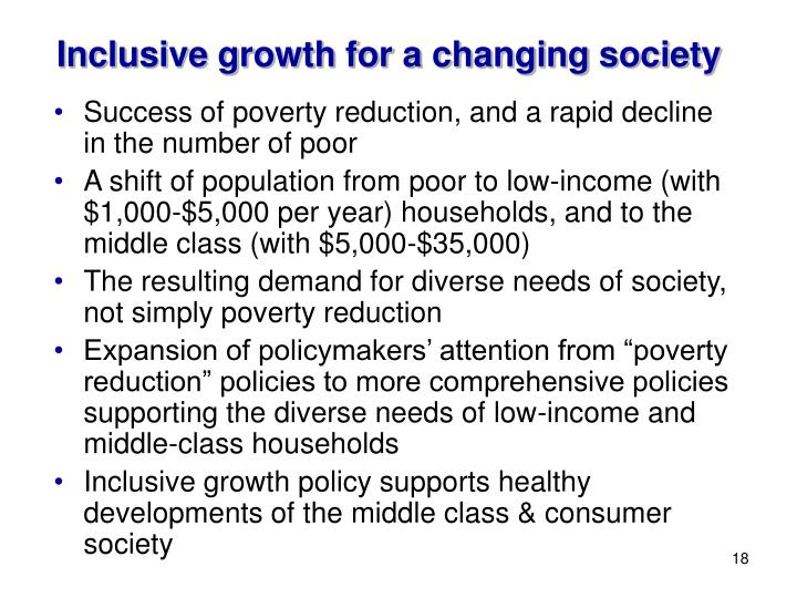 Inclusive growth for a changing society