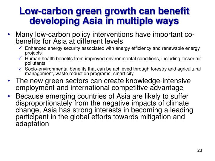 Low-carbon green growth can benefit developing Asia in multiple ways