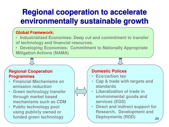 Regional cooperation to accelerate environmentally sustainable growth
