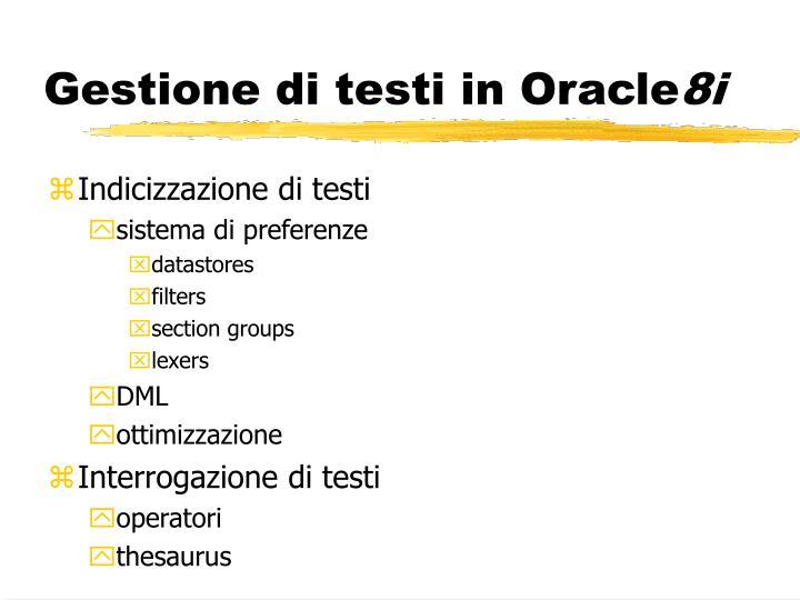 Gestione di testi in Oracle