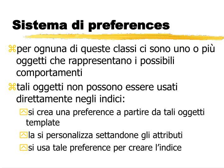 Sistema di preferences