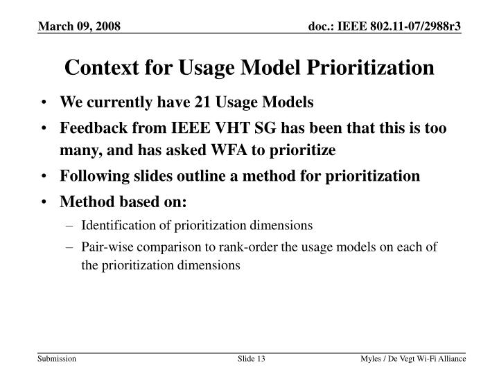 Context for Usage Model Prioritization
