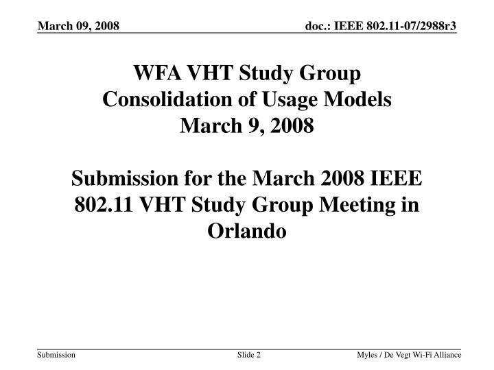 WFA VHT Study Group