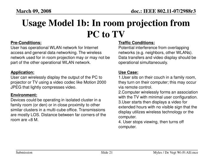 Usage Model 1b: In room projection from PC to TV