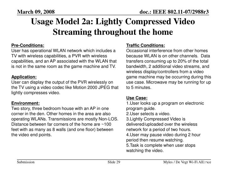 Usage Model 2a: Lightly Compressed Video Streaming throughout the home