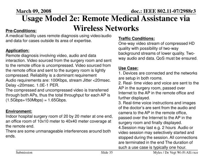 Usage Model 2e: Remote Medical Assistance via Wireless Networks