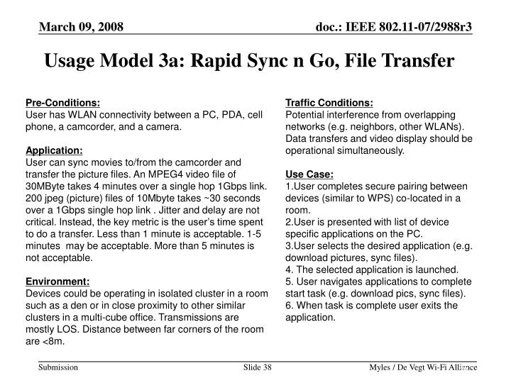 Usage Model 3a: Rapid Sync n Go, File Transfer
