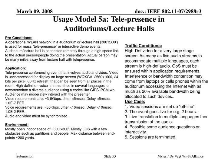 Usage Model 5a: Tele-presence in Auditoriums/Lecture Halls