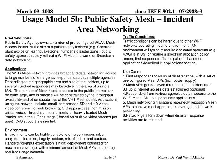 Usage Model 5b: Public Safety Mesh – Incident Area Networking
