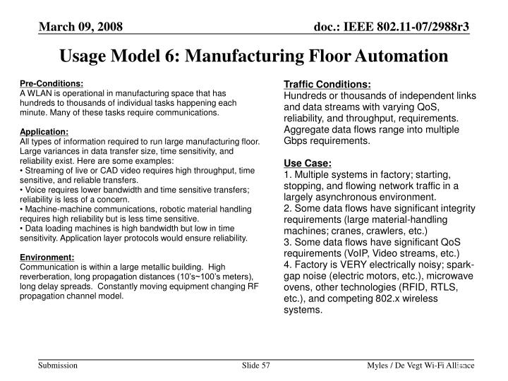 Usage Model 6: Manufacturing Floor Automation